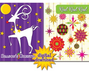 Assortment of 8 Colorful Christmas/Holiday Cards #3