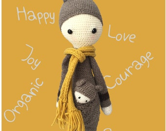 Handmade, crocheted (amigurumi) toy doll for adults, children and babies. 100% pure wool of brown and white, with yellow scarf.