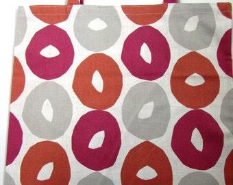 Handy orange red and taupe circle pattern tote bag - 100% natural cotton bag print fabric - reusable shopping bag - fold up design