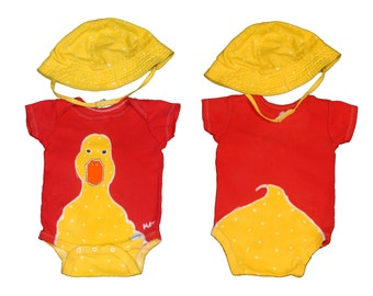 Baby Duck Onesie, Red Bodysuit, Baby Clothes, Batik Clothing, Baby Gift, Under 50