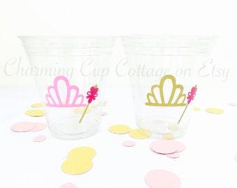 Princess Party Theme/Party Cups/Tiara Party Cups/Princess Theme Party/Princess and Tiaras/Princess Party Cups/Princess Birthday Party Cups