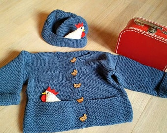 Fun blue cardigan with matching hat
