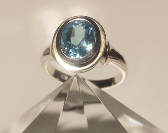 Blue Topaz Double Bezel Ring