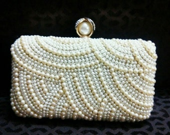 Elegant Pearl Embellished/Wedding Clutch/Embroidery Clutch/Party Clutch