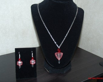 Red and Black Necklace and Earrings Set