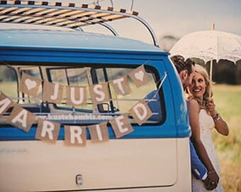 Just Married hessian wedding car sign