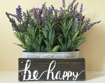 Rustic Reclaimed Wood Sign (Be Happy)