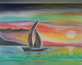 The Floating Boat (pastel picture)