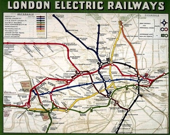 Vintage London Underground Electric Railway Travel Map Print Poster Picture A3, A4