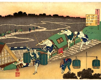 Scene of Travellers Through Village By Katsushika Hokusai Japanese Reproduction Woodblock Print Picture Poster A4