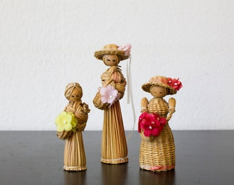75% off last chance-3 dolls of Reed-3 women dolls handmade from Reed