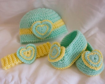 Crochet Beanie, Bootie and Headband set in Mint green and yellow