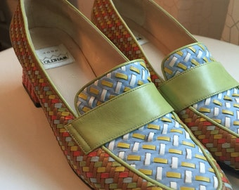 90's Todd Oldham multicolored woven leather loafers