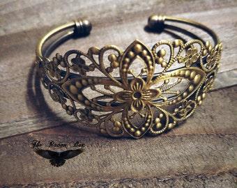 Bracelet Blank Antiqued Bronze Filigree Bangle Bracelet Blank Bracelet Vintage Style Wholesale Bracelet Blank Brass
