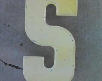 """RUSTIC VINTAGE METAL Letter -S- 10""""  1960's Metal Letter"""