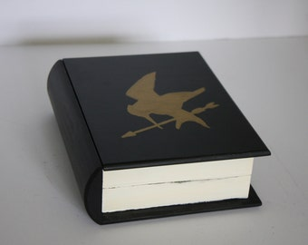 Hand Painted Hardcover Hunger Games Book Box- Black and Gold, Hardcover, Modern, Best Selling Book