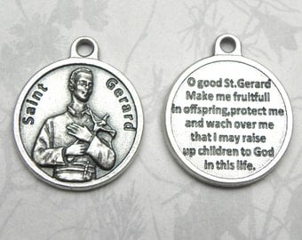 St. Gerard Majella Round Holy Medal, Catholic Gift, Made in Italy, Patron Saint of Expectant Mothers, Pregnant Women, Fertility, Infertility