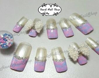 Press on Nail , Fake Nail, Long and short Nail, Hand painted Nail art design, Handmade