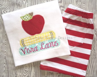 Back to School Applique Tee: Apple and Books