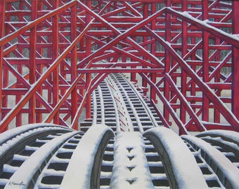 "Roller Coaster Print from Original Watercolor ""The Apex"""