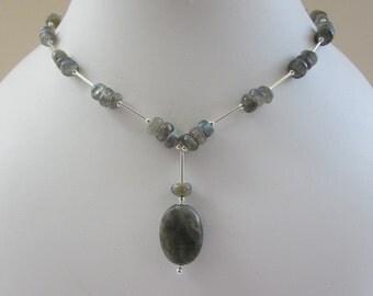 Labradorite Gem Sterling Silver Necklace