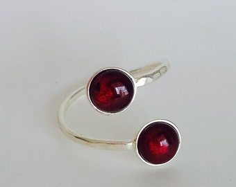 Adjustable Silver Plated Double Garnet Cabochon Ring