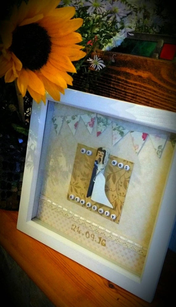 handmade personalised box frame wedding  t peg bride and