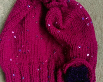 Hand knitted girls pink sequined hat