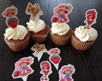 24 Strawberry Shortcake Cupcake Toppers Birthday Party