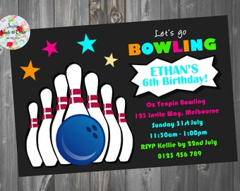 Bowling Invitation Party Invite with pins and ball