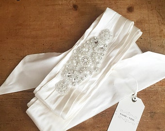 India Ivory Silk Bridal Sash - Wedding Dress Belt - Bridal Gown Sash - Wedding Accessories - Custom Wedding Accessory