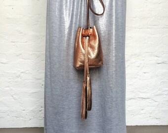 RESERVEDold gold bucket bag shoulder leather bag
