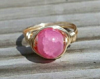 Cloudy Light Pink Wire Ring