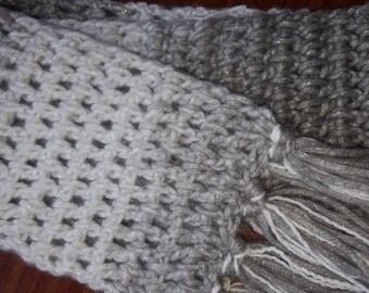 Handmade crochet silver sparkle scarf