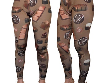 Chocolate Leggings Chocolates Candy Leggings Chocolates Print Leggings Candy Print leggings In Stock & MTO Sz Xs-5XL