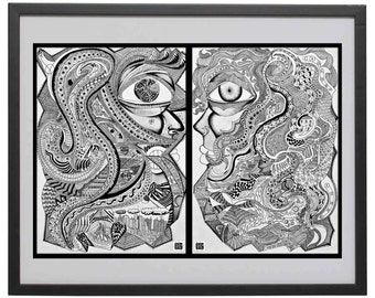 Detailed Pen and ink Face Drawing Print, Intricate Portrait of Couple, Black and White, Pen and ink Artwork, Doodle Face