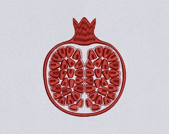 Pomegranate Machine embroidery design - 2 sizes for instant download
