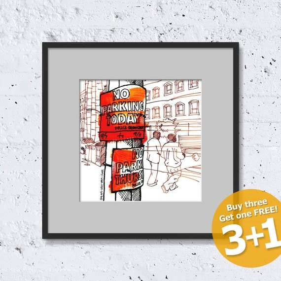 NEW YORK Sketch #07, No Parking Today, Color Ink, High Quality Print, Fine Art Poster, Home Decor, Giclée, Unframed, FREE Worldwide Shipping