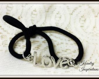 Ponytail Holder/ Hair Elastic Tie/Love Bracelet / Pony Tail Holder/Arm Candy Hair/Bracelet / Pony Tail Holder (Ready to Ship)