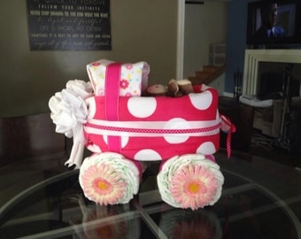 Girls Diaper Carriage, Baby Diaper Carriage, Baby Shower Gift, Unique Baby Shower Gifts, Baby Girl Diaper Carriage