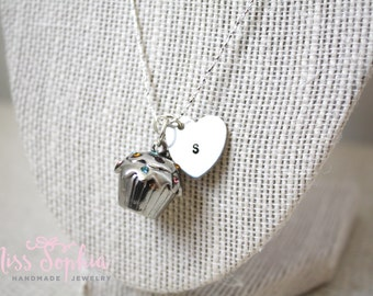Hand Stamped / Custom Initial Necklace / Cupcake Charm / Dainty Chain / Miss Sophia