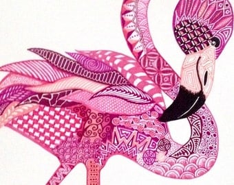 "Zentangle flamingo - ""Rhapsody in Pink (Roseus)"""