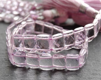 AA+ Pink Amethyst double drilled rectangles, 6x8mm, 21cm string, 33 beads