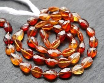 Hessonite cut drops, 5x7mm, 37cm string, 45 beads (2774)