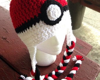 Pokemon Pokeball Themed Crochet Hat - Beanie with Earflaps and Braids - Newborn / Toddler / Child / Teen / Adult - Made to Order
