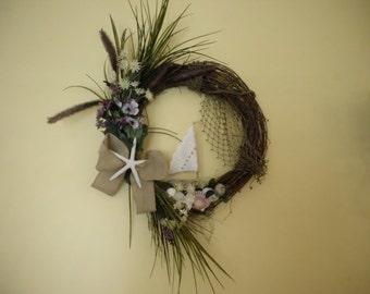 Beach Wreath with Driftwood Sailboat