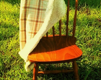 Orange and Cream flannel and fur double sided Throw