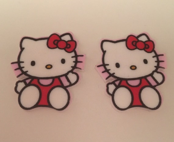 Reduced 2 Hello Kitty Red Bow Kawaii Planar Resin. Flatback cabochon bow centre embellishments laser cut shrinky dink decoden brooch button