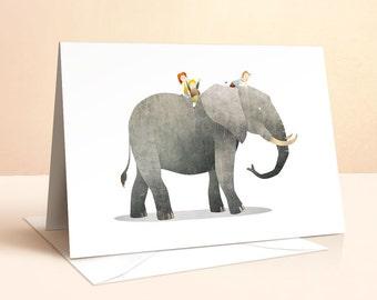 Wild Adventure - Elephant Card | Birthday Card | Kids Birthday | Nursery Art | Greeting Cards | Childrens Art | Elephant Print | Art Card