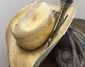 WESTERN COWBOY HAT straw with feather